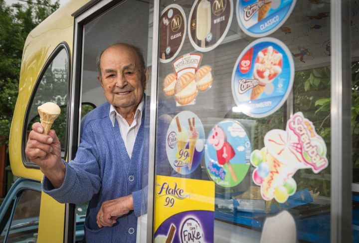 At 103, Givoanni Rozzo has become Britain's oldest ice cream man.