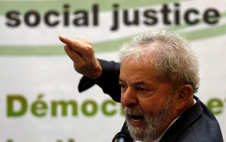 Brazil's former President Luiz Inacio Lula da Silva, pictured above in April, will stand trial for obstruction of justi