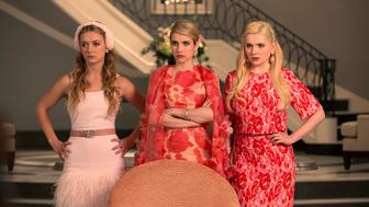 SCREAM QUEENS: Pictured L-R: Billie Lourd as Chanel #3, Emma Roberts as Chanel Oberlin and Abigail Breslin as Chanel #5 in 'Pilot,' the first part of the special, two-hour series premiere of SCREAM QUEENS airing Tuesday, Sept. 22 (8:00-10:00 PM ET/PT) on FOX. (Photo by FOX via Getty Images)