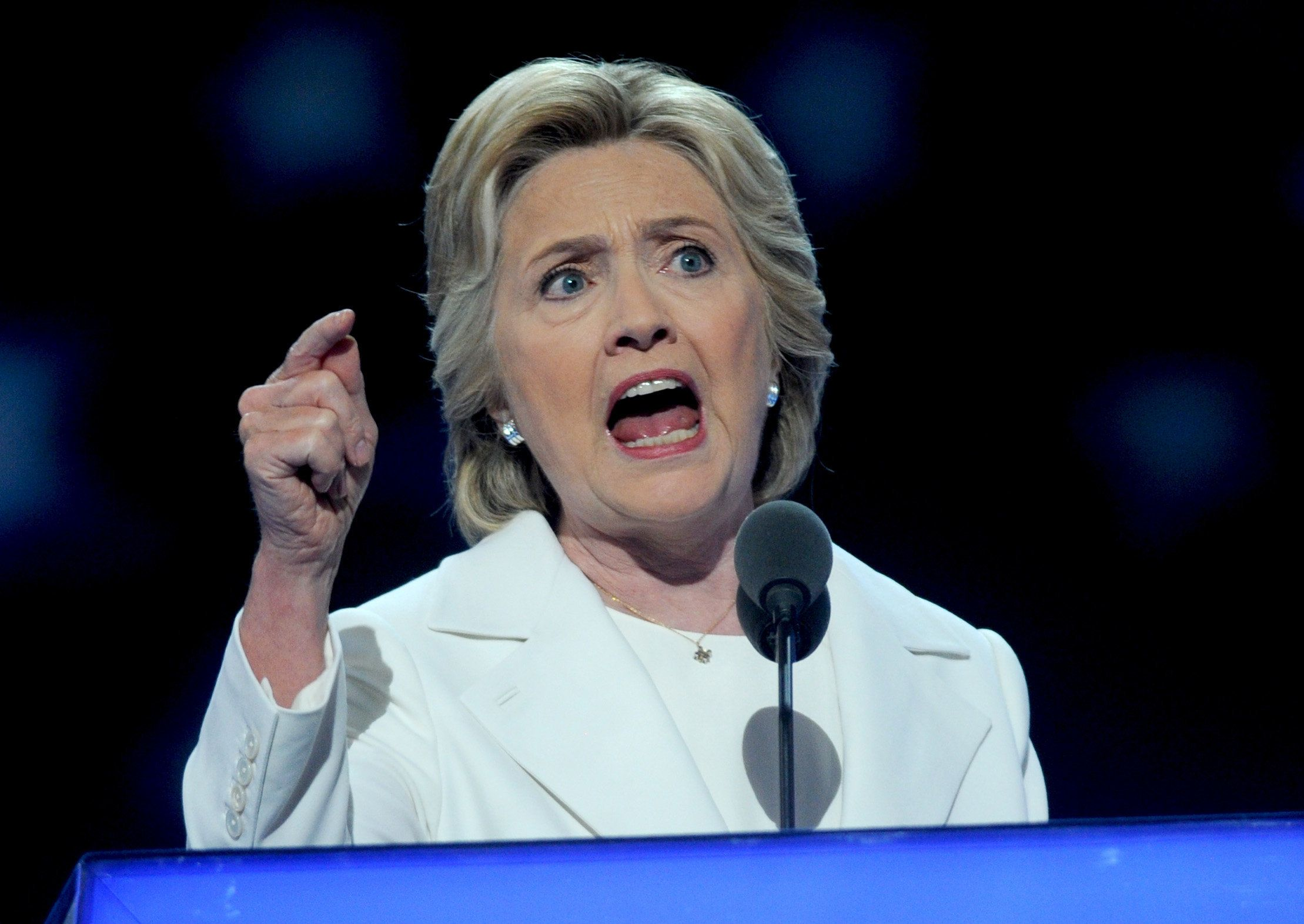 Hillary Clinton addresses delegates after formally accepting the Democratic nomination for president during day four of the Democratic National Convention at Wells Fargo Center in Philadelphia, PA, USA, on July 28, 2016. Democrat Hillary Clinton will face Republican Donald Trump in the national election. Photo by Dennis van Tine/ABACAPRESS.COM