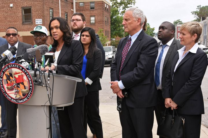 Mosby holds a news conference on Wednesday, July 27, 2016, on the corner where Freddie Gray was taken into police c