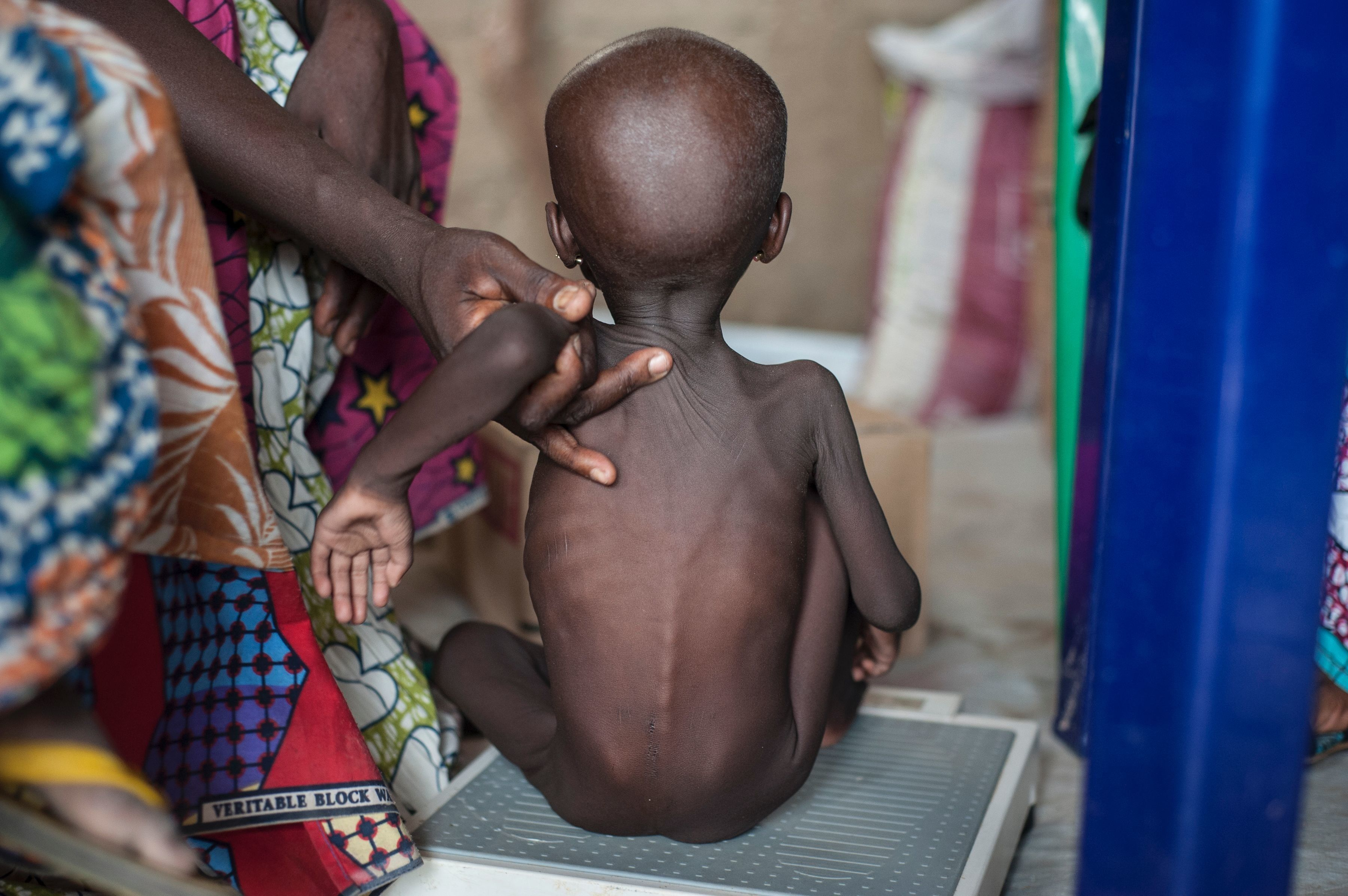 A young girl at the Muna settlement for displaced people. UNICEF estimates that some 50,000 children in northeast Nigeria are