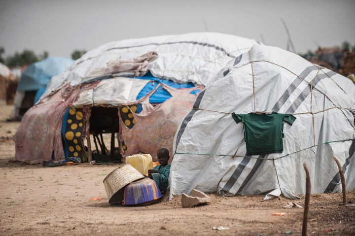 A makeshift hut in the Muna settlement. Aid workers say groups have not moved fast enough to bring aid to the region, and the