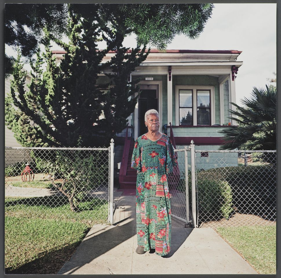 """""""1009 Chester Street,"""" 16x16 giclee print, 2003, by Julie Placensia. Etta Mae Jones moved to West Oakland from Texas in 1942."""