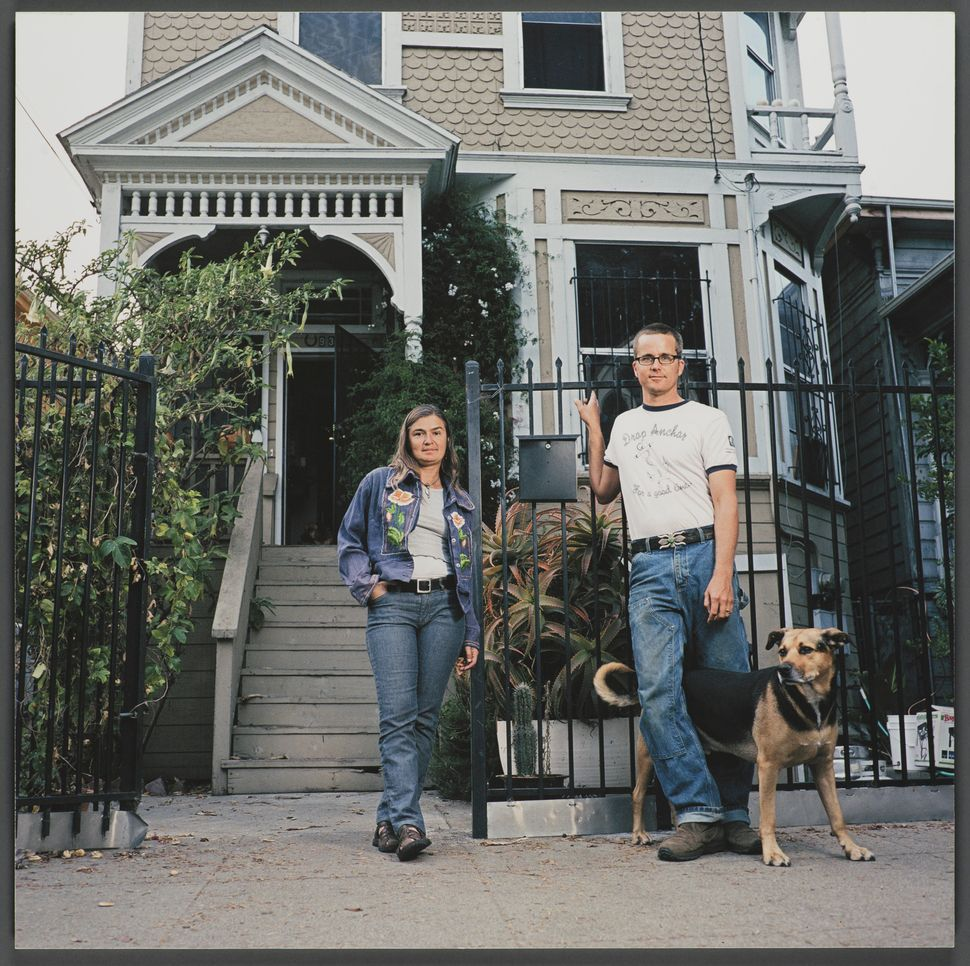 """""""935 Chester Street,"""" 16x16 giclee print, 2006, by Julie Placensia. Ratka Mira Popovic with John Hove, her ex-boyfriend, and"""