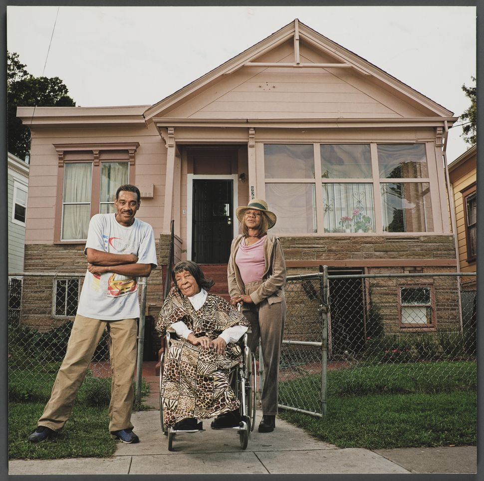 """""""927 Chester Street,"""" 16x16 giclee print, 2006, by Julie Placensia. Cleo Green, center, and her husband, Roosevelt Green, wer"""