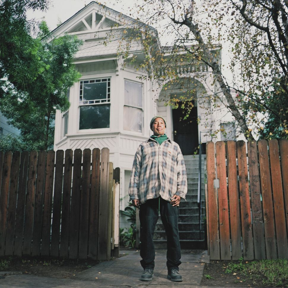 """""""1106 Chester Street,"""" 16x16 giclee print, 2004, by Julie Placensia. Bruce Youngblood and his family, originally from Berkele"""