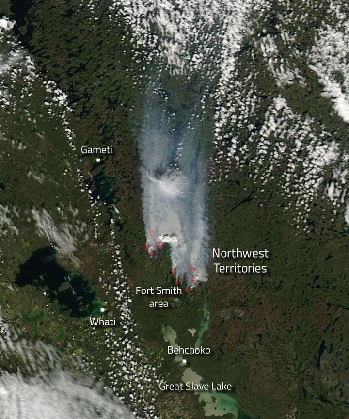"Northwest territories, Canada. ""According to the Northwest Territories (NWT) Government Facebook page one new fire has been r"