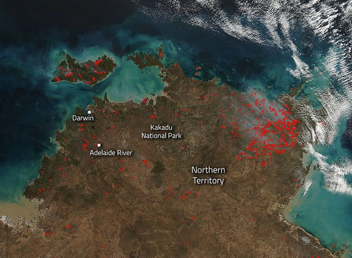 """Bushfires in the Northern Territory of Australia are dotting the landscape in this image captured by the Suomi NPP satellite"