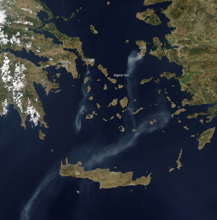 "Greek islands. ""A state of emergency has been declared on the island of Chios due to the fire that broke out early in the mor"
