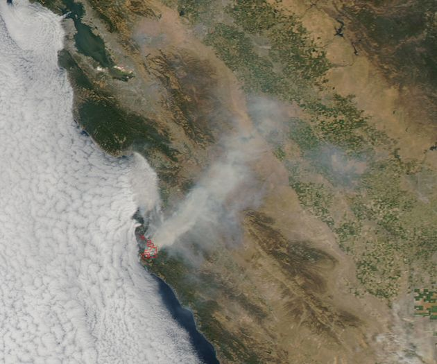 The Aqua satellite captured this image of the Soberanes fire in northern California on July 27,