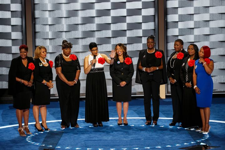 Geneva Reed-Veal, the mother of 28-year-old Sandra Bland, speaks as she stands with the Mothers of the Movement at the 2016 D
