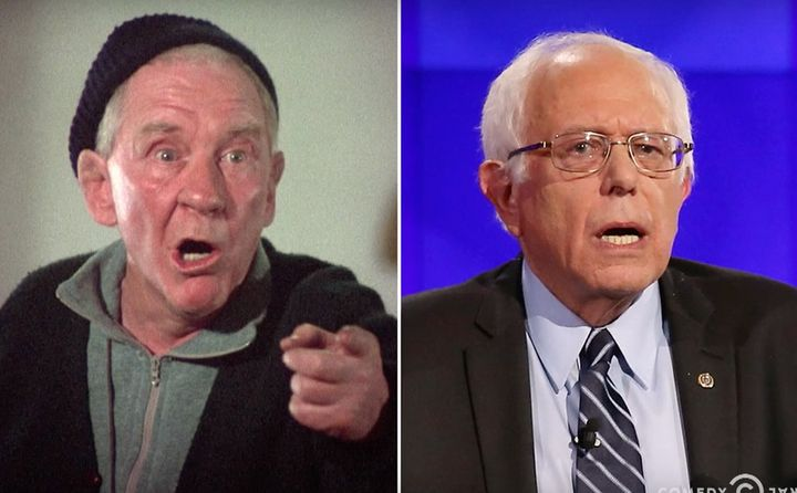 Burgess Meredith as Mickey Goldmill, Rocky's trainer and 2016 presidential candidate Bernie Sanders.