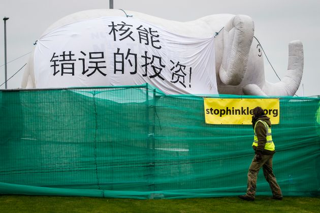 Environmentalists''white elephant' protest at Hinkley