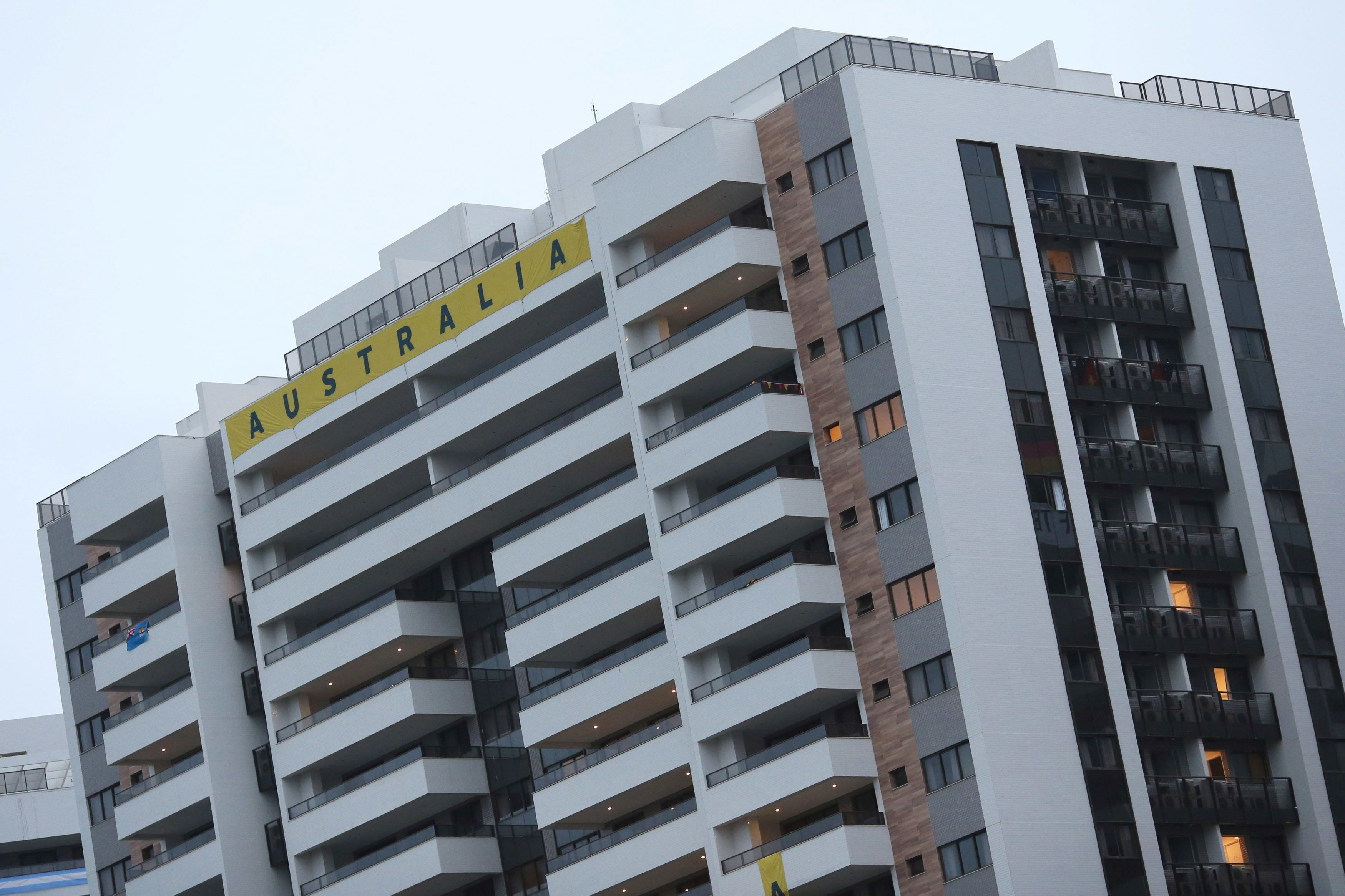 Members of the Australian team were forced to leave their building at the Olympic Village after a fire broke out in the basem