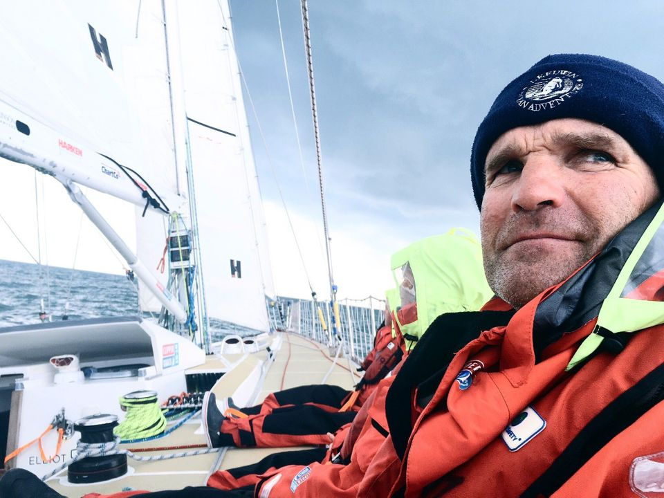 Australian beef farmer Martin Anninglooks into the distance as the Great Britain crew race from...