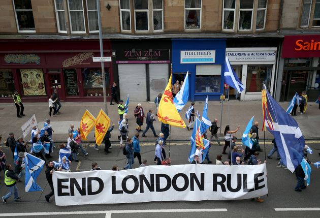 One banner read 'end London