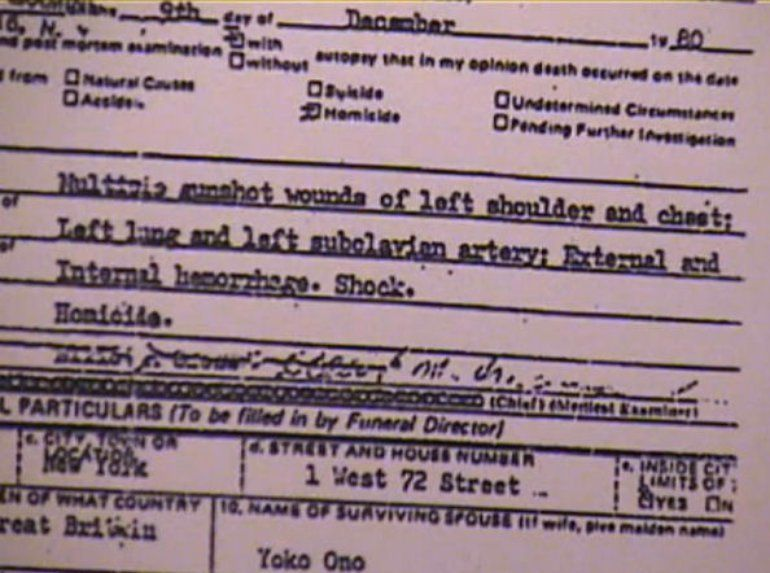 Close-up of John Lennon's Death Certificate Showing The Official Coroner Ruling