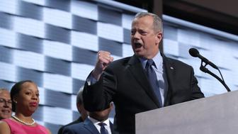 PHILADELPHIA, PA - JULY 28: Ret. Gen. John Allen delivers remarks on the fourth day of the Democratic National Convention at the Wells Fargo Center, July 28, 2016 in Philadelphia, Pennsylvania. Democratic presidential candidate Hillary Clinton received the number of votes needed to secure the party's nomination. An estimated 50,000 people are expected in Philadelphia, including hundreds of protesters and members of the media. The four-day Democratic National Convention kicked off July 25. (Photo by Chip Somodevilla/Getty Images)