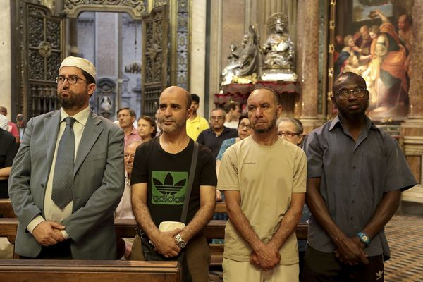 Muslims and Christians attend services in Naples cathedral.