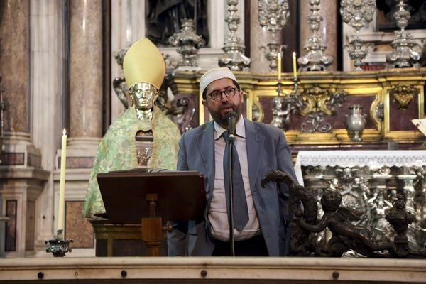 Imam Massimo Abdallah Cozzolino delivers a speech during Mass in Naples cathedral in Italy.