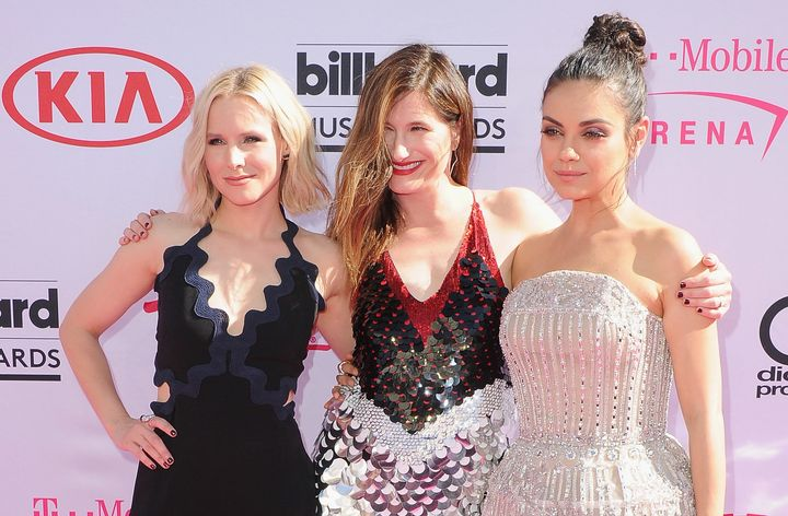 """The cast of """"Bad Moms,"""" Kristen Bell, Kathryn Hahn and Mila Kunis at the 2016 Billboard Music Awards at T-Mobile Arena on May"""