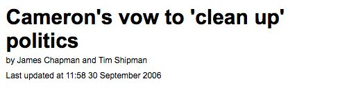 Cameron's pledge to 'clean up' politics in 2006, reported by The Daily