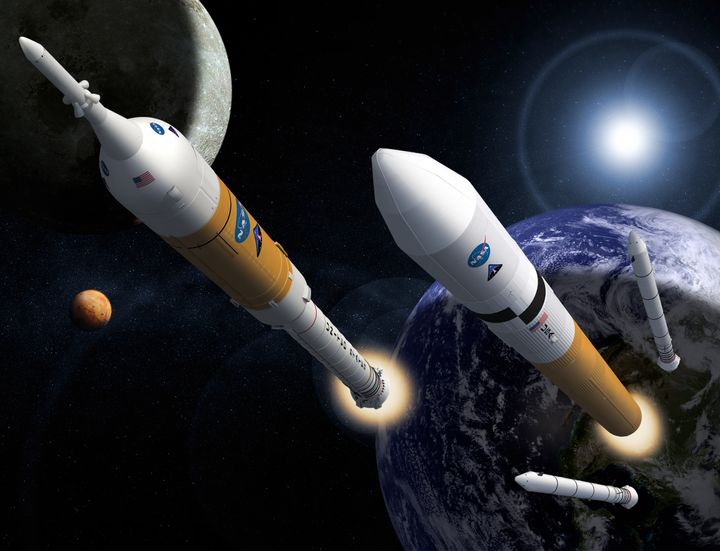 <i>An artist&rsquo;s concept of NASA&rsquo;s Ares I and V rocket systems. Ares I (left) was designed to launch Orion, while A