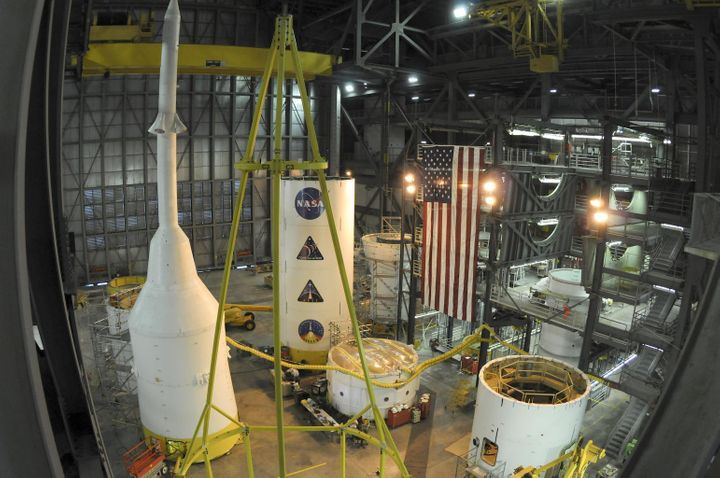 <i>Pieces of an Ares rocket come together inside NASA&rsquo;s Vehicle Assembly Building at Kennedy Space Center, Florida, pri