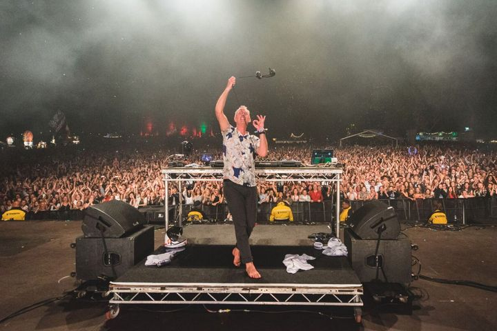 Fatboy Slim on stage at Camp Bestival on Saturday 30 July 2016.