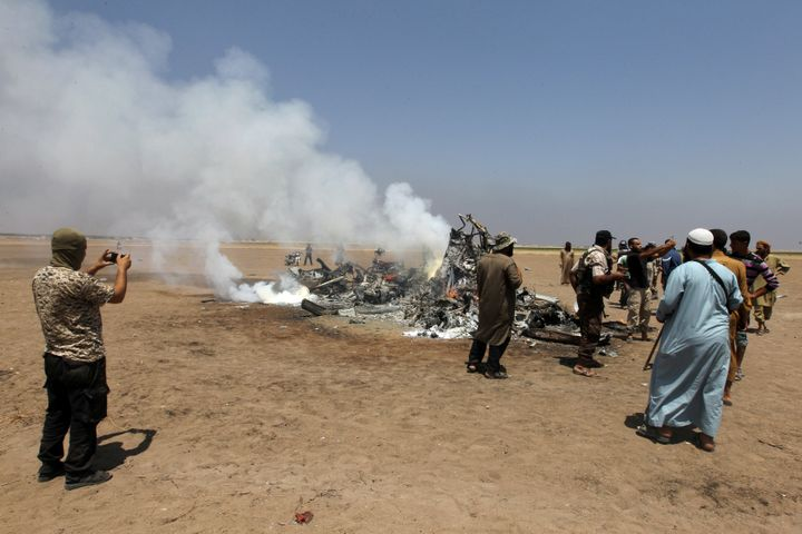 A Russian helicopter was shot down in rebel-held Idlib province on Monday.