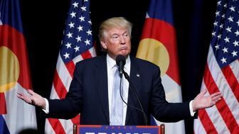 Republican presidential nominee Donald Trump speaks at a campaign rally in Colorado Springs, Colorado, U.S., July 29, 2016. REUTERS/Carlo Allegri