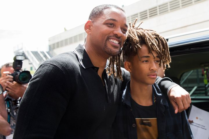 Will Smith and his son Jaden Smith pose outside the Palais after 'The Pursuit of Impact' seminar during the Cannes Lions Fest