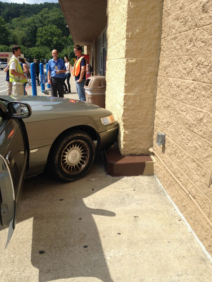Luckily, the dogs, the car and the building were all more or less unharmed.