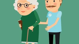 Volunteer man caring for elderly woman and helping her to walk with her cane. Vector illustration.