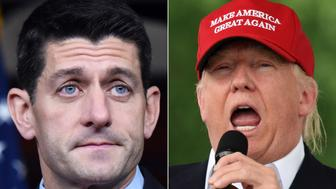 WASHINGTON D.C., June 2, 2016-- The composite photo shows U.S. House Speaker Paul Ryan, left, speaking at a news conference at the U.S. Capitol in Washington D.C., the United States on Nov. 5, 2015, and Republican presidential candidate Donald Trump speaking to motorcyclists participating in Rolling Thunder parade in Washington D.C., the United States on May 29, 2016. U.S. Republican House Speaker Paul Ryan announced on Thursday that he would vote for the presumptive Republican presidential nominee Donald Trump in November. (Xinhua/Yin Bogu via Getty Images)