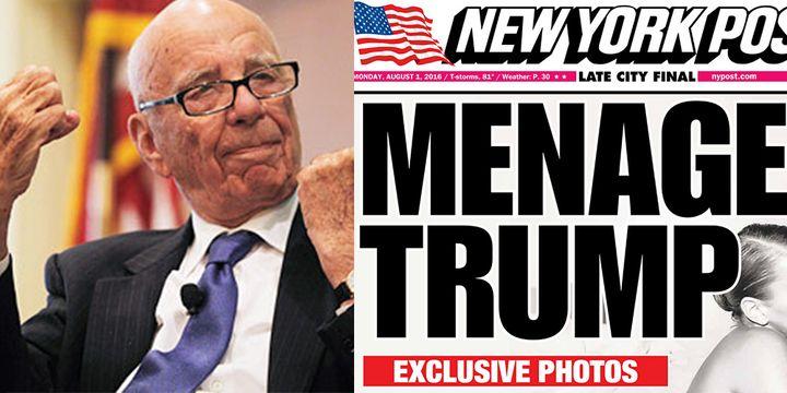 Left: Ownerof News Corp Rupert Murdoch