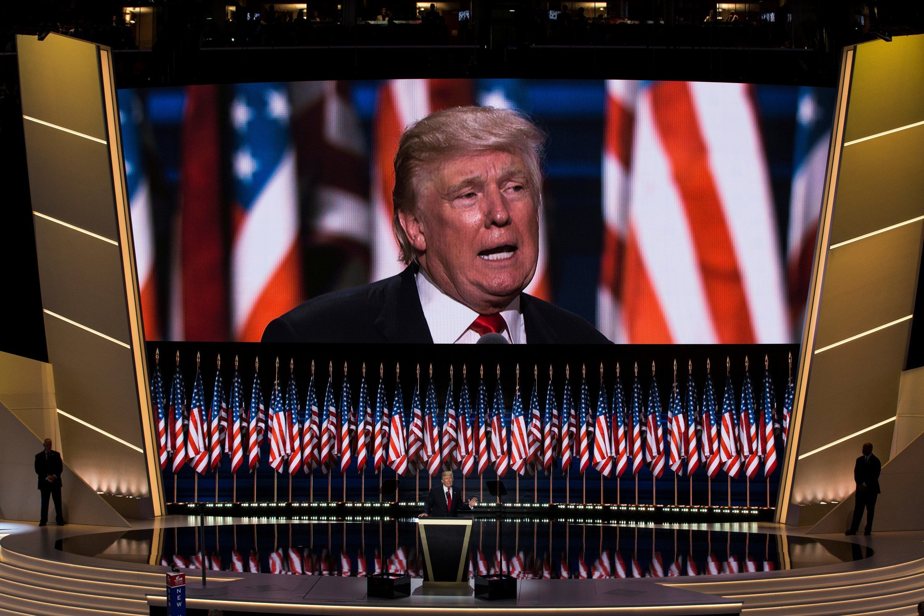CLEVELAND, USA - JULY 21: Donald Trump accepts the Republican nomination for President at the 2016 Republican National Convention in Cleveland, Ohio, USA on July 21, 2016. (Photo by Samuel Corum/Anadolu Agency/Getty Images)