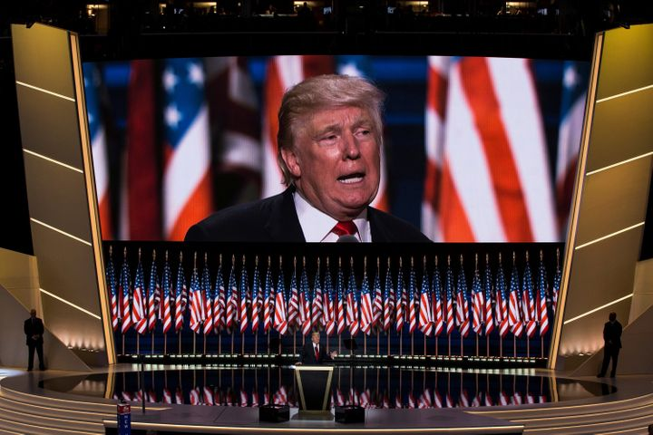 Donald Trump accepts the Republican nomination for presidenton July 21, 2016. New polling finds that the Republican Nat