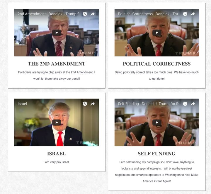 A screen grab of Donald Trump's issue page.