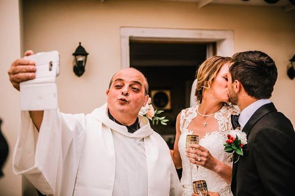 """""""Meagan and David wanted a very romantic, intimate, symbolic ceremony in Venice. I wrote the service, which was jointly offic"""