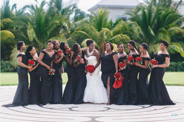 """""""This has to be the best bridal party in the world. Even through the 92 degree heat they were all smiles for their girl."""" --&"""