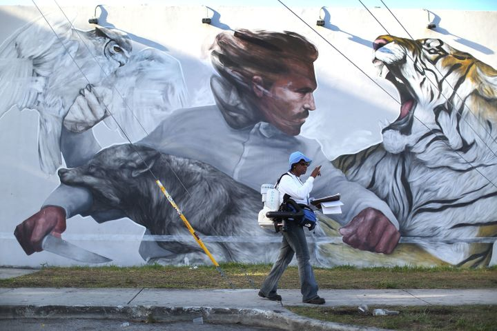 MIAMI, FL - JULY 30: Sharon Nagel, a Miami-Dade County mosquito control inspector, walks through the Wynwood neighborhood looking for mosquitos or breeding areas where she kills the mosquitoes with larvicide granules or a fogger spraying pesticide as the county fights to control the Zika virus outbreak on July 30, 2016 in Miami, Florida.