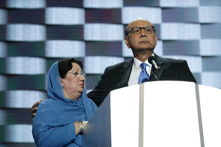 Khizr Khan, father of deceased U.S. Army Capt. Humayun S. M. Khan, delivers remarks as he is joined by his wife Ghazala Khan