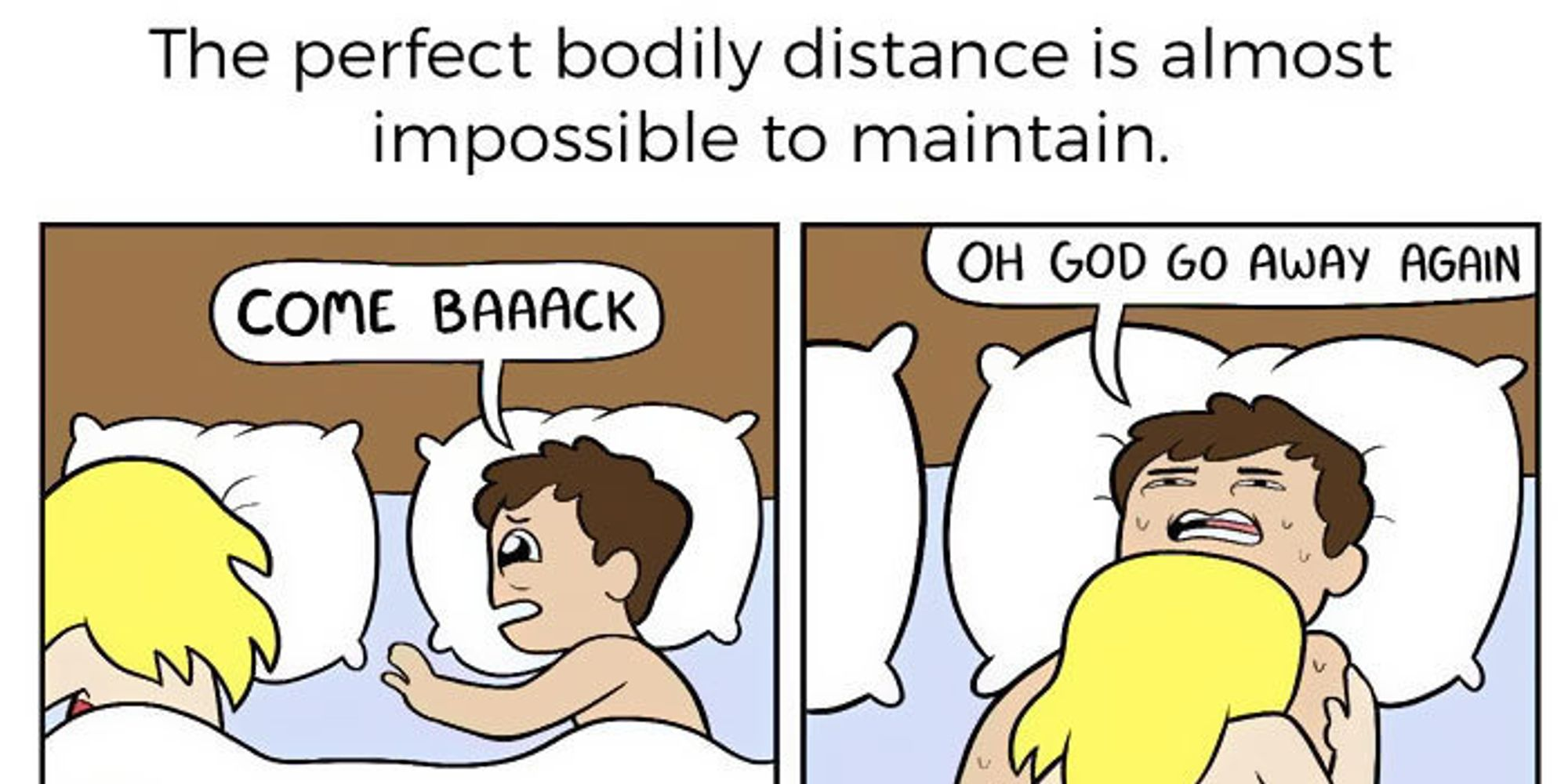 the 6 stages of sharing a bed with your significant other
