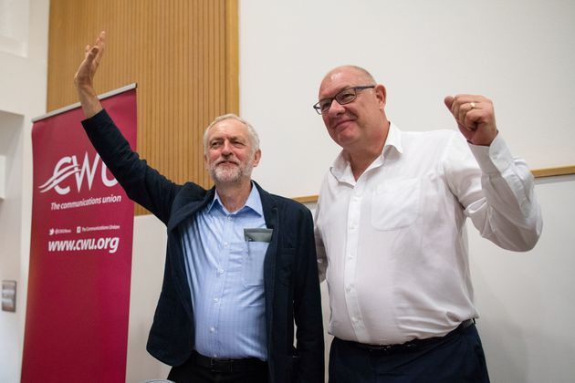 Jeremy Corbyn with Dave Ward, general secretary of the Communication Workers