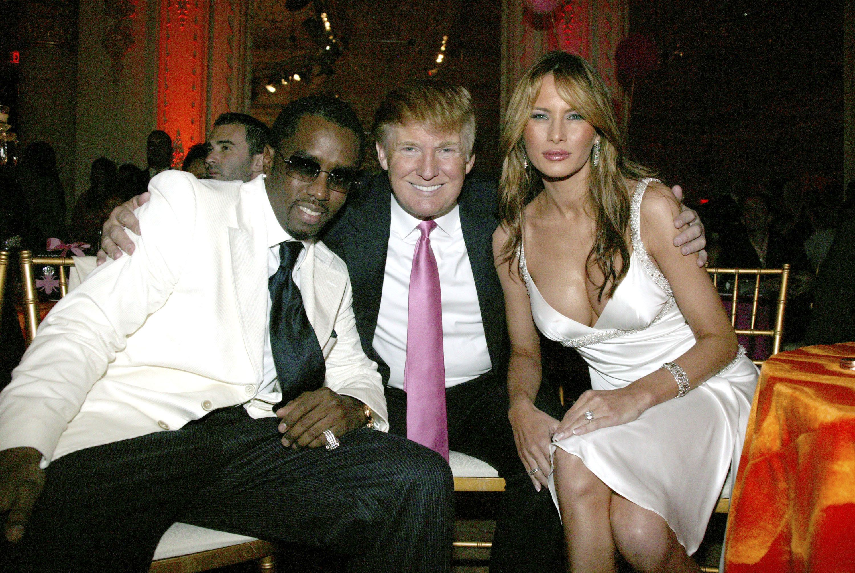 Sean 'P. Diddy' Combs, Donald Trump and Melania Trump (Photo by Johnny Nunez/WireImage)
