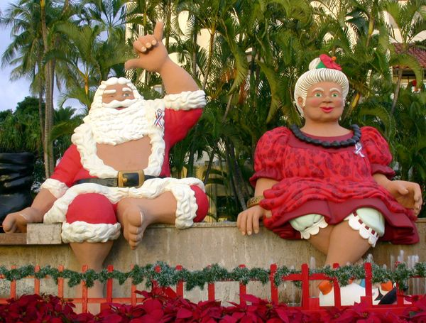 Mr. and Mrs. Claus break out the aloha wear come December.
