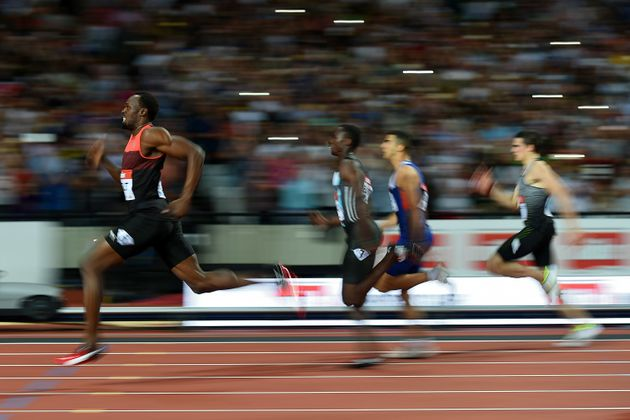 Jamaica's Usain Bolt is a blur in sprinting events like this one on July 22 in