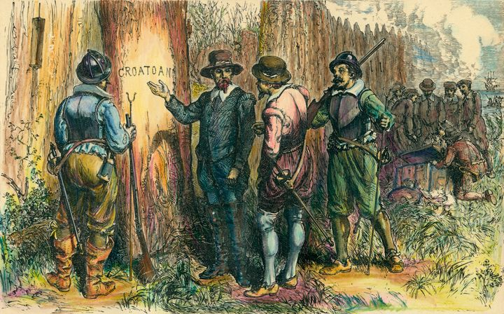 Illustration depicts John White and others as they find a tree into which is carved the word 'Croatoan,' Roanoke Island, Nort